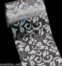 ROULEAU Foils Nail Art Foil ongle Arabesque Argent Holo Transparent 4cmx100cm