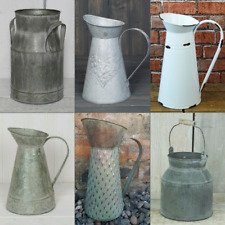 Rustic zinc metal jug vase planter garden churn decorative cream wedding vintage