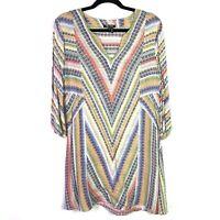 Nic+Zoe Womens Sz Small Dress 3/4 Sleeve Multicolor v neck