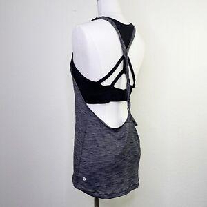 Lululemon Twist and Toil Tank Top Size 10 Sports Bra Heathered Black Backless