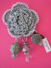 OTTAVIANI BIJOUX CRYSTAL METALLIC LACY CROCHET BROOCH OR PENDANT~MADE IN ITALY