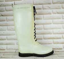 ILSE JACOBSEN Womens Long High Wellington Boots Rain Wellies Beige 7.5 UK 41 EU