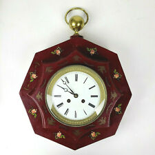 New ListingAntique French Tole Wall Clock Bazelaire Silk Thread Movement c1840 Ships Free