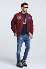 2018 MA-1 NASA letterman varsity american ollege bomber flight jacket for men