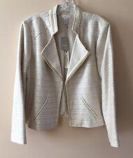 New Chico's Women's Ecru Tweed Jacket Size 3 (16/18) XL Cream Ivory Gold