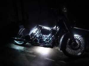 White 4pc LED Accent Light Kit - Engine Fairing Body Glow Lighting for Harley