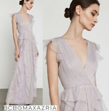 NWT BCBG MAXAZRIA Draped Ruffle And Lace Gown Dress Lavender Mist Size 6