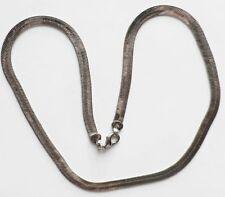 collier chaine plaqué 14k or blanc bijou vintage maille plate serpent * 3297