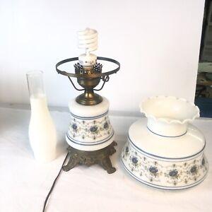 "Vintage Hurricane Lamp Quoizel Abigail Adams White w Blue Flowers 21 1/2"" Tall"