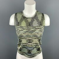M MISSONI Size 8 Green Knitted Wool / Acrylic Sleeveless Top