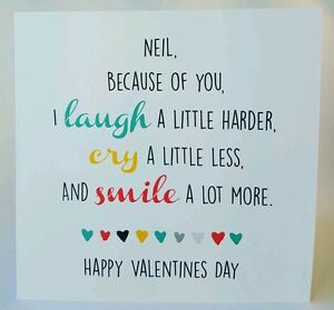 PERSONALISED Handmade Because of You Valentines Day Card