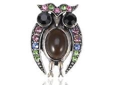 Crystal Rhinestone Fashion Costume Brooch Staring Owl Bird Peridot Czech Alloy