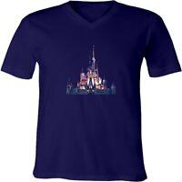 Disney Disneyland Theme Park Night View Unisex Men Women V-Neck Park T-Shirt