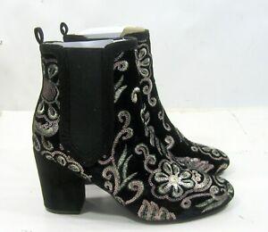 MACKIN J 151-9 Velvet Sequin Embroidered Block Heel Chelsea Bootie women siz 7.5