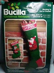 "Vintage Bucilla HEIRLOOM ""Christmas Time"" #7940 Stocking knit or crochet KIT"