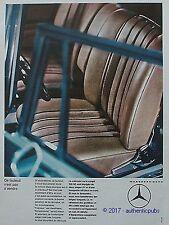 PUBLICITE MERCEDES BENZ 220 SE COUPE CABRIOLET VOITURE DE 1964 FRENCH AD PUB CAR