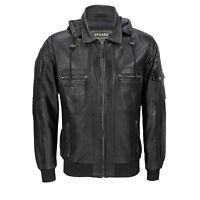 Mens Black Real Soft Leather Smart Casual Biker Style Collar Bomber Hood Jacket