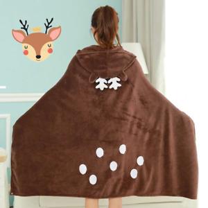 Wearable Fur Deer Blanket with hood Cartoon deer Coral Velvet Warm for winter
