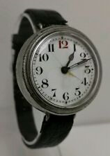 Vtg 1918 WW1 Borget Style Screw Cased Wire Lugged Steel Trench Wrist Watch 38mm