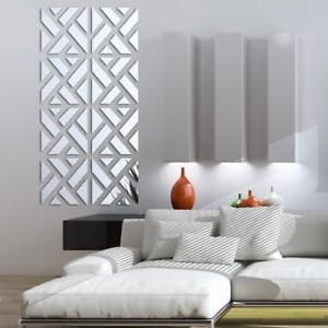 Silver Wall Sticker Mirror Acrylic Wall Decal Geometric Pattern Home Decoration