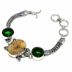 "Ammonite Fossil, Chrome Diopside Gemstone Silver Jewelry Bracelet 7-8"" RB694"