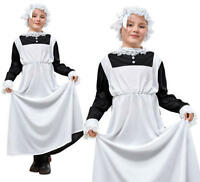 Childrens Kids Victorian Maid Fancy Dress Costume Girls Servant Outfit M