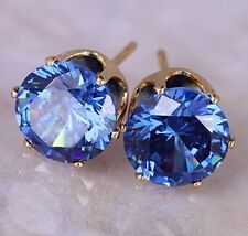 BOXED GIFT BIRTHDAY PRESENT 8mm Sapphire Blue Gold Crystal Stud Earrings UK