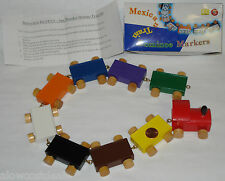 9pc WOODEN SET MEXICAN TRAIN GAME DOMINO MARKERS ENGINE & RAIL CARS CHICKEN FOOT