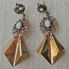 Opal and 14K gold Spanish style pierced earrings, vintage 1960s from Montreal