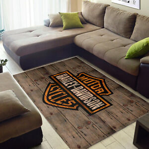 NEW-Harley Davidson Area Soft Rugs Bedroom Kitchen Living Room, Motorcycle Decor