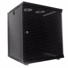 "12u 19"" 450mm Deep Black Floor Standing or Wall Mounted Data Cabinet Comms Rack"