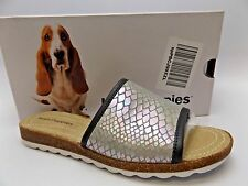 NEW Womens HUSH PUPPIES SILVER Print Textile PANTON JADE Sandals SZ 6.5 W D3558