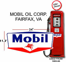 "(MOBI-6) 24"" MOBIL GAS PEGUSUS GASOLINE DECAL CAN / GAS PUMP / LUBSTER"