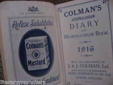 COLMAN'S KEEN'S 1916 AUSTRALASIAN POCKET DIARY AND MEMORANDUM BOOK Mustard Co J