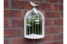Metal Bird Cage Style Mirror With Candle Holder Shabby Chic Cream FREE P&P UK