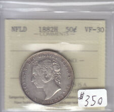 1882H NEWFOUNDLAND 50 CENT COIN ICCS CERT VF-30