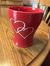 "Ceramic Red Vase with Hearts Valentine's Day 5.5"" H X 5"" Diameter"