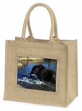 Elephant in Water Large Natural Jute Shopping Bag Christmas Gift Idea, AE-3BLN