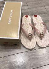 Michael Kors Soft Pink  Flip Flop Sandals MK Logo Signature Size 10 Ballet Nwt