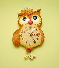 Con Dibujo De Búho-Hermoso Reloj De Pared Con Péndulo