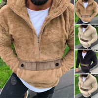 Men Winter Fleece Hoodies Sweatshirt Long Sleeve Casual Thicken Sweater Coat Top