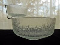 Indiana Glass Clear Crystal Ice Chip & Dip with Chrome Metal Bowl Holder
