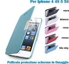 Flip COVER custodia wallet a libro magnetica per iphone 4 4S 5 5S + 2 pellicole