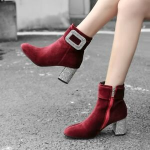 Womens Elegant Velvet Glitter Block High Heels Ankle Boots Shinyu Fashion Shoes