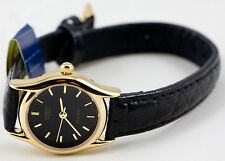 Casio LTP1094Q-1A Ladies Analog Watch Leather Band Black - Gold Rim Face New