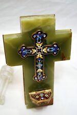 CROIX CHRIST BENITIER MURAL BRONZE CLOISONNE & ONYX fin XIXème gravé E de L.