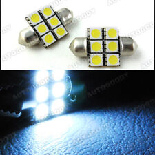 2x White LED Bulbs 31mm Festoon 6-SMD 5050 Dome Map Bright Light