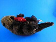 "Aurora Sea Otter Plush Brown with Red Starfish  9"" incl tail"