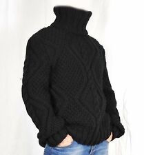 Hand Knit 100% WOOL Pullover Men Sweater Turtleneck SOFT thick cable Jumper 2XL