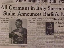 VINTAGE NEWSPAPER HEADLINE ~WORLD WAR HITLER ITALY NAZIS SURRENDER BERLIN WWII